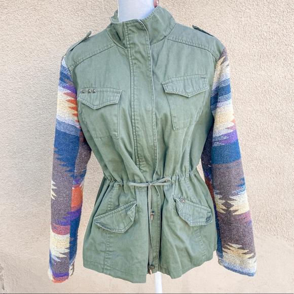 I.B. Diffusion Aztec sleeve military green jacket